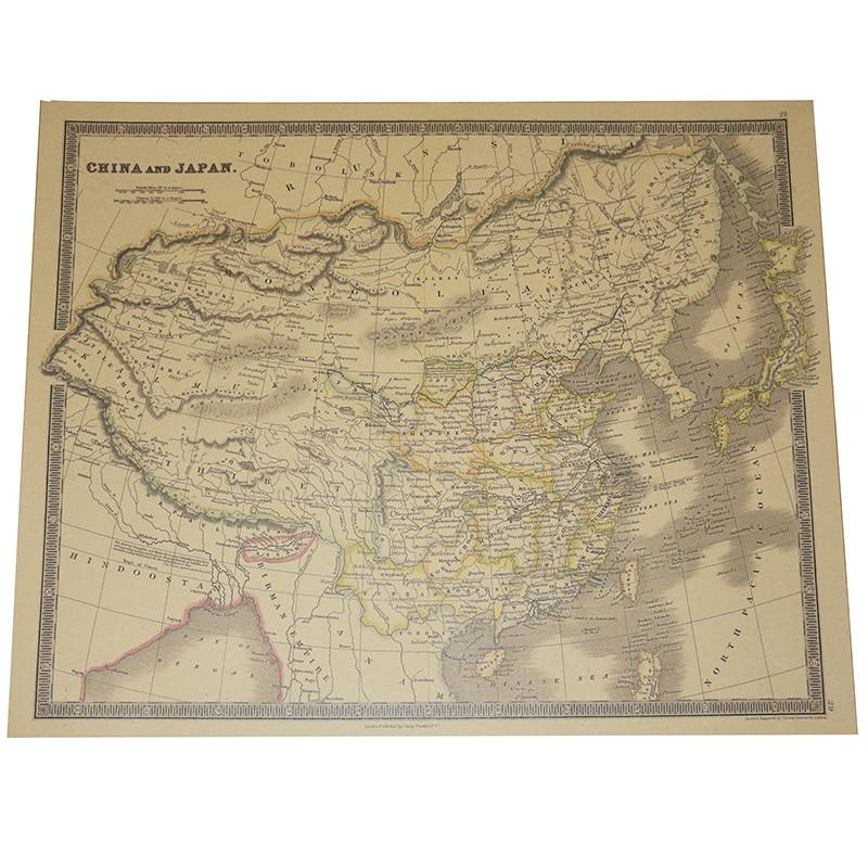 2 Pcs Map World English Version 63.5*51.5cm National Geographic Atlantic International Kraft Paper Poster Decorative Core