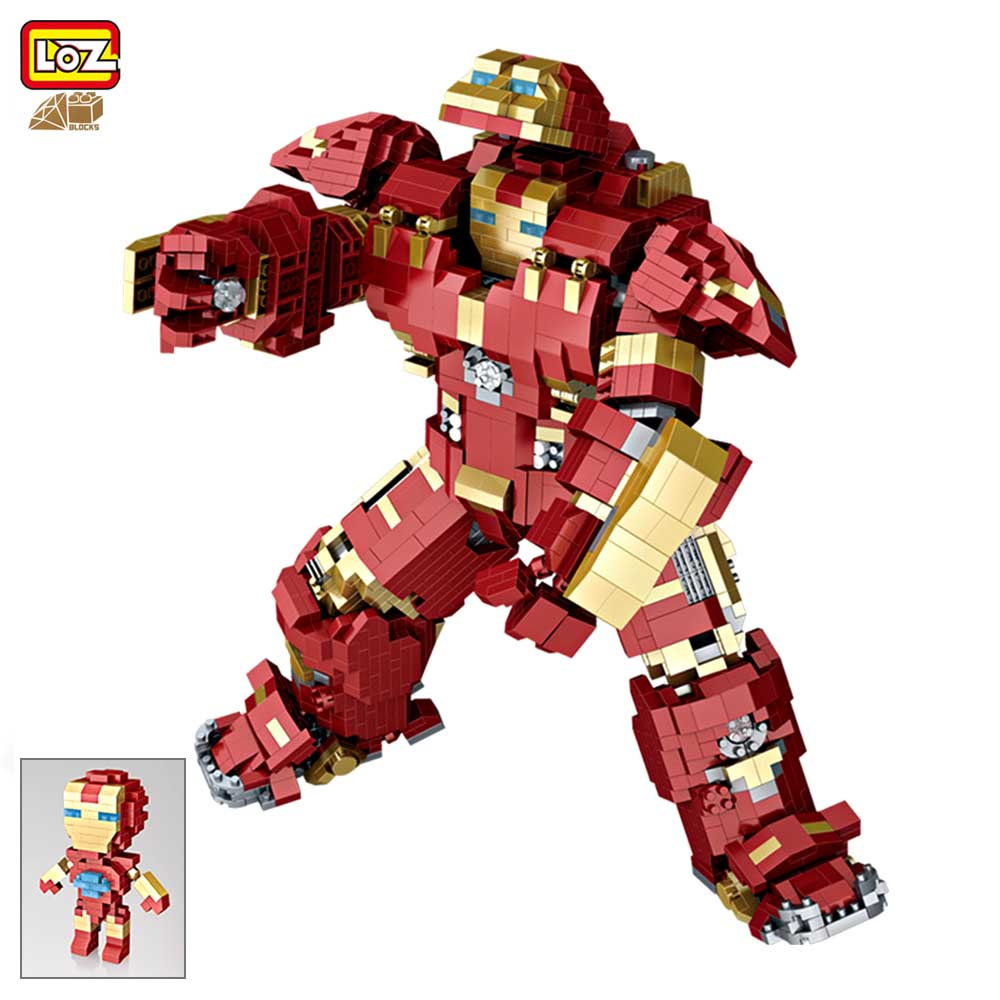 2018 New LOZ Big Size Mini Block Super Heroes Iron Man Ironman Mech Building Block Brick Toy 9045 цена