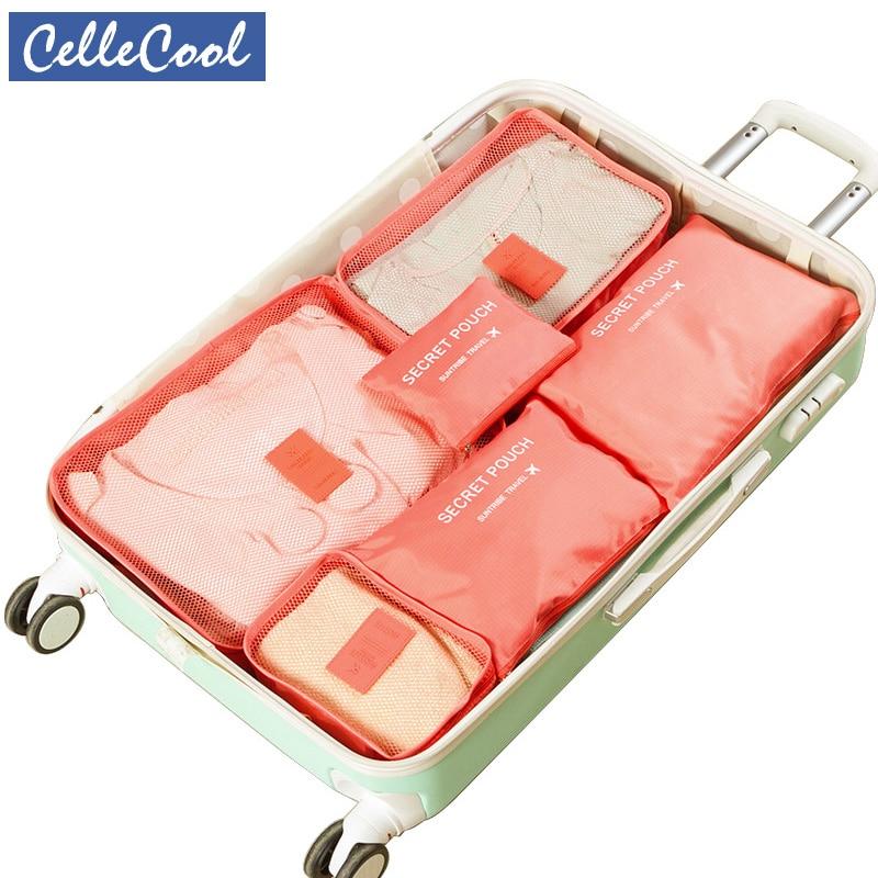 Women Men 6PCS/Set  Travel BagTravel Mesh Bag In Bag Luggage Organizer Packing Cosmetic Bag Cube Organiser For Clothing
