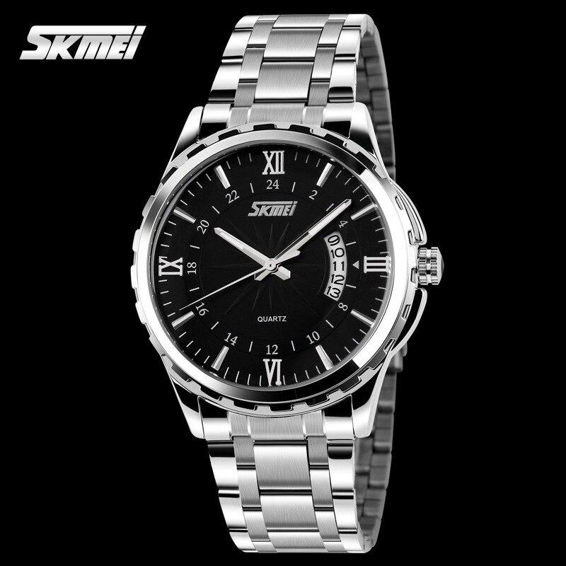 TOP Fashion Quartz Watch Skmei Stainless Steel Watches font b Men b font Luxury Brand 3TM