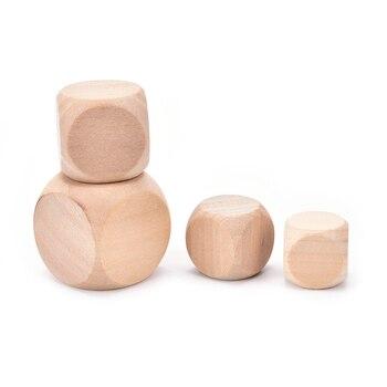 Dados de madera en blanco de 6 caras, 18/20/25/30mm, fiesta, familia, juegos DIY, impresión, juguetes de chico grabados