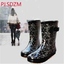 PJ. SDZM Sexy Spitze Stil Wasser Schuhe Gummi Thermische Plus Samt Regen Schuhe Weibliche Mode Wunderschönen Klassische Spitze Rain