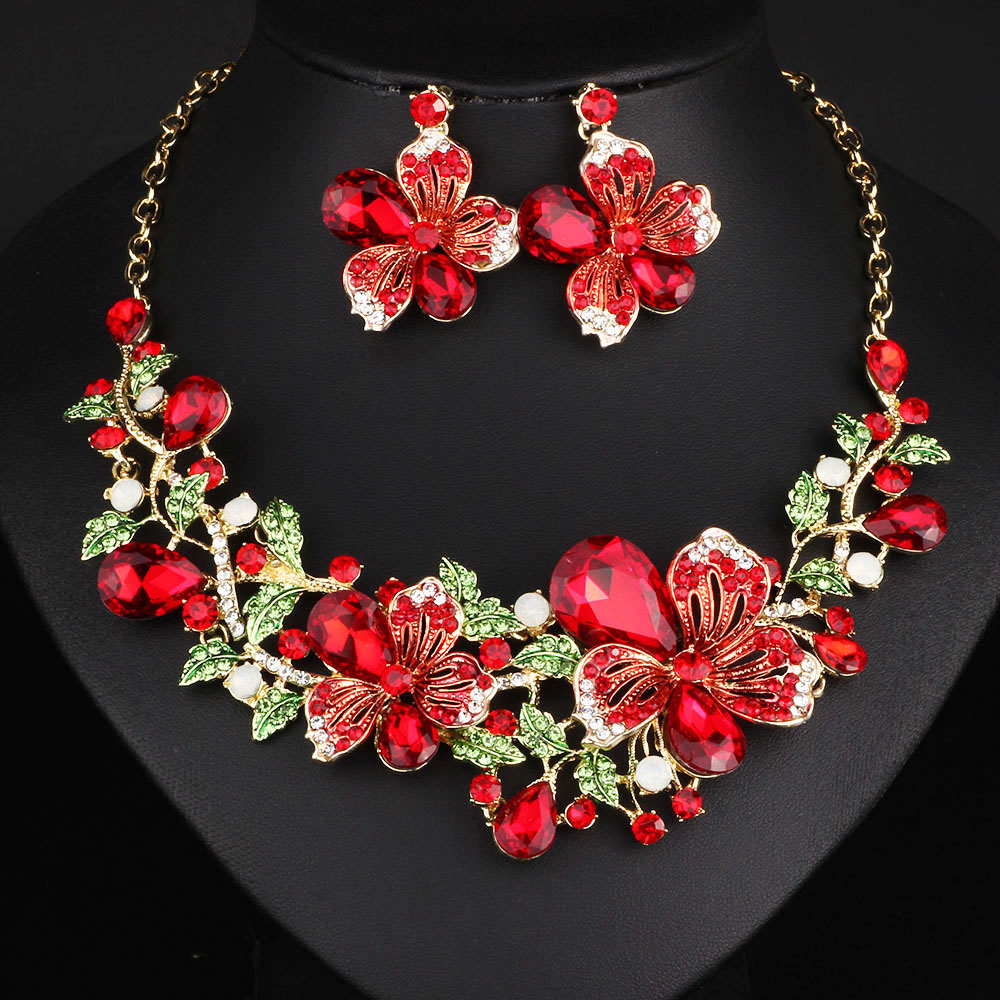 Multicolor Crystal Rhinestone Flower Necklace Earrings Set For