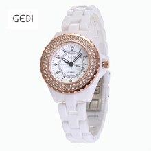GEDI Fashion Ceramic Quartz Watch for Women Luxury Brand Wristwatch Ladies Waterproof Rhinestone Clock female Relogio Feminino