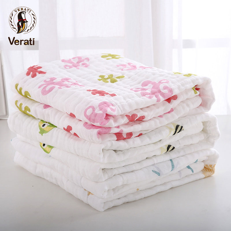 VERATI Printing Cotton Washed Gauze Towel Soft Comfortable Super absorbent Baby Towels Baby Towel Baby Blanket Bath Towel V017