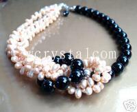 Rosa Perla Negro Onyx piedra collar collares de moda para las mujeres 2015 100% perlas naturales joyería