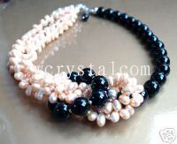 Pink Freshwater Pearl Black Onyx Stone Bead Necklace Fashion necklaces for women 2015  100% natural pearls jewelry