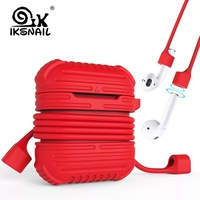 IKSNAIL Silicone Case For Apple Airpods Cover Earphone Strap Wireless Bluetooth Headphone Earphone Protector Case for Air Pods