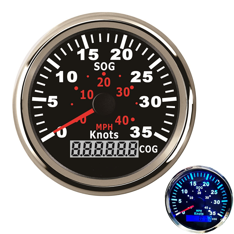 12V / 24V 85mm GPS Speedometer Odometer 0-35Knots Waterproof For Car Motorcycle Boat Yacht Vessel with Blue Backlight 100% brand new gps speedometer 60knots for auto boat with gps antenna white color