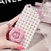 luxury Pearl Rhinestone Diamond Crystal Glitter Flower Bling Case Cover For Iphone4S 5S SE 5C 6 6S Plus 7 7Plus(Bowknot Pearl)