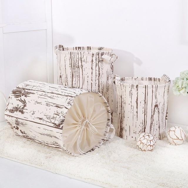 Cotton Linen Cloth Folded Hamper Thickening Toy Storage Bucket Bathroom Dirty Laundry Basket