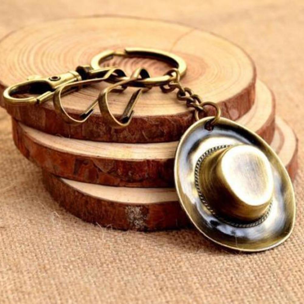 Unique Creative Vintage Bronze Cowboy Hat Buckle Keyring Keychain Key Fob Women Girl Accessories