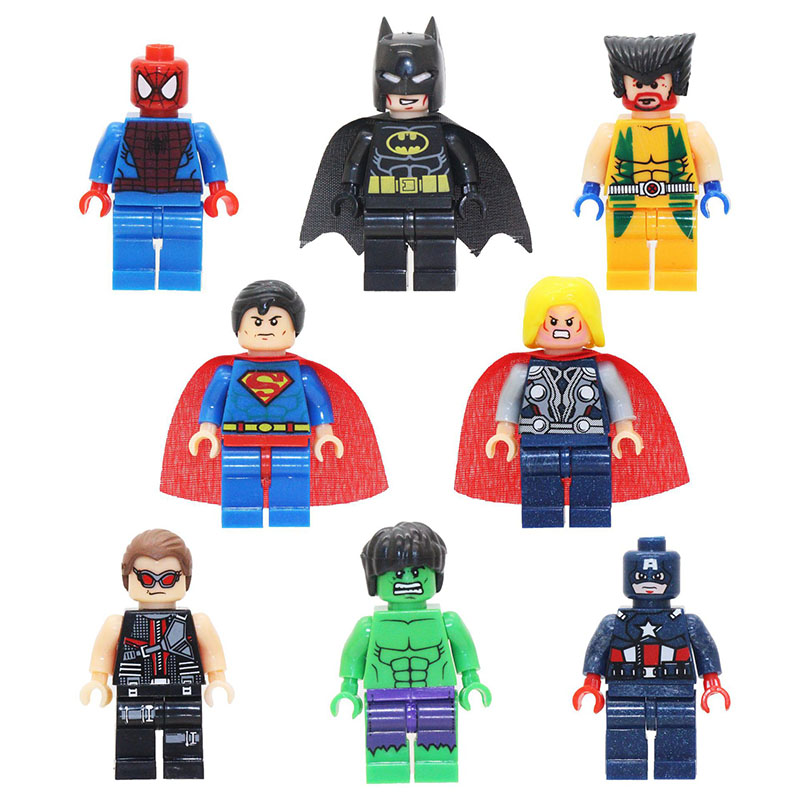 8pcs Marvel Avengers Super Heroes Action Figure Sets Toys for children 2019 New Justice League Batman Super Man Figurine Lot