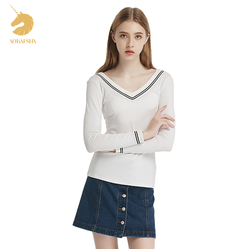 Autumn College Wind cotton <font><b>rib</b></font> <font><b>knit</b></font> V-neck striped <font><b>long-sleeved</b></font> T-shirt Korean wild Slim primer shirt female shirt tide M16348