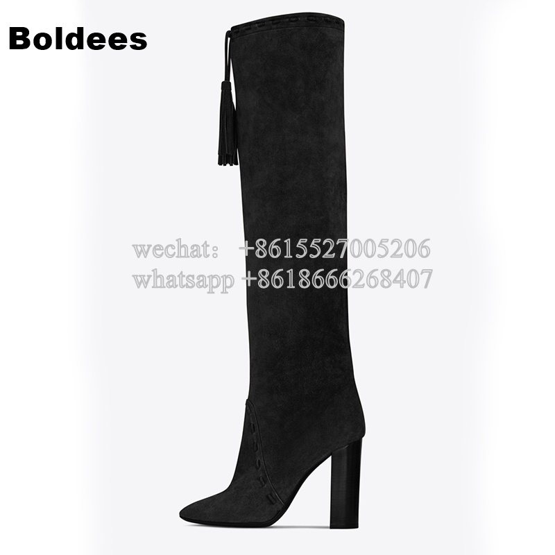 Designer Fall Winter Women Brown Black Block Heeled Gladiator Fringe Tassel Boots Woman Knee High Long Boot tassel suede leather knee high women winter boots fashion folded design tassel block heeled booty