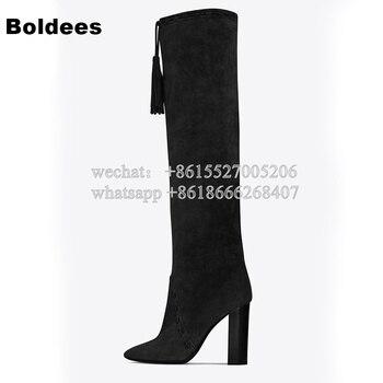 Designer Fall Winter Women Brown Black Block Heeled Gladiator Fringe Tassel Boots Woman Knee High Long Boot