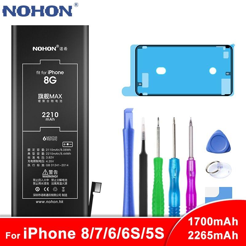 NOHON Bateria Para Apple iPhone 8 7 6 6S 5S Bateria Para iPhone6 iPhone7 iPhone8 Max Capacidade de Substituição de Telefone batarya Ferramentas Gratuitas