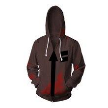 Cosplay Angels of Death Costume Isaac Foster Zack Cosplay Sweatshirts Uniex 3D Printing Zipper Jacket Hooded Sweater Coat Tops