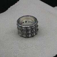 Выгравированы Стерлингов Серебряное Кольцо властным человеком тянет большой серебряное кольцо самообороны