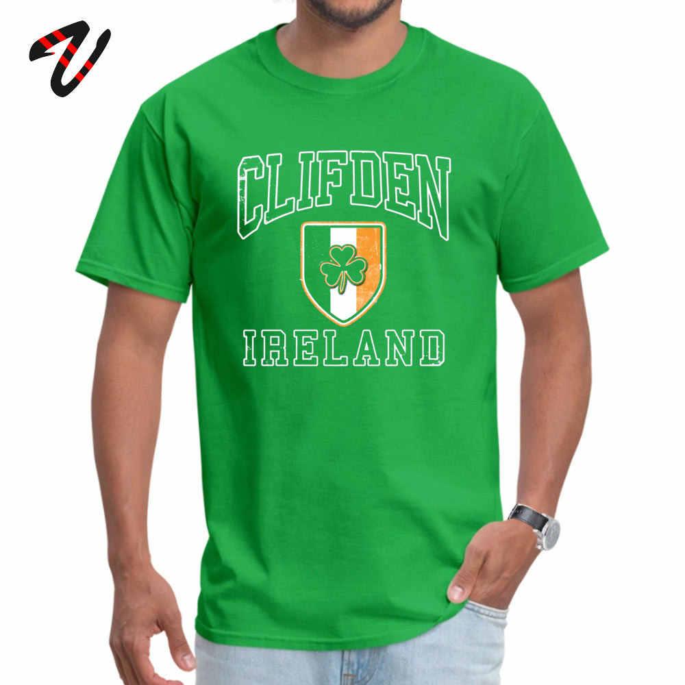 Siêu nhân Cao Cấp Áo Cổ tròn Xenomorph Áo Thun Nam Clifden Ireland với Shamrock Áo Tee Slim Fit Nam Cotton quần áo Retro