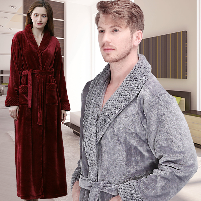 15d7f78226 Men Winter Extra Long Thick Warm Shawl Collar Bath Robe Mens Thermal  Flannel Bathrobe Male Peignoir