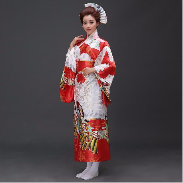New Fashion Traditional Women Yukata With Obi Sexy Kimono Vintage Party  Prom Dress Performance Dance Costume One Size b2c3fd6c1b17