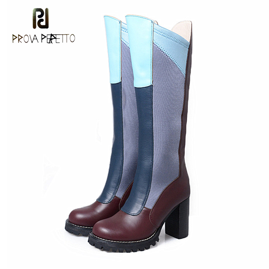 Prova Perfetto European Fashion Genuine Leather Mixed Color Stretch Fabric Knee High Boots Women Square Toe Long Boots Winter