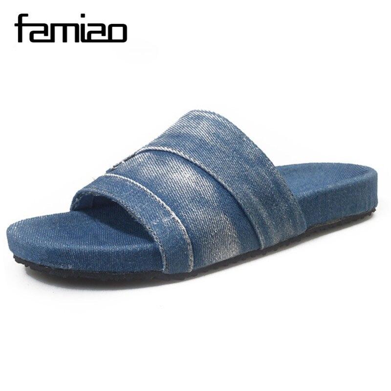 New Designer Denim Canvas Slippers Women Summer Shoes Women Casual Women Denim Sandals Slippers Fashion Slides Solid Flip Flops summer new arrival women casual denim