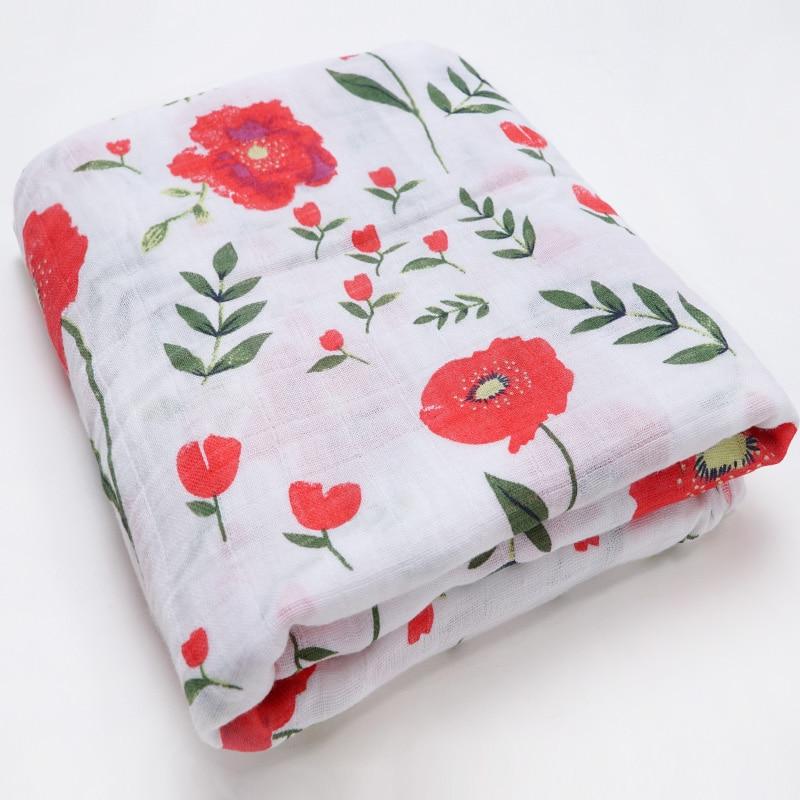 Новинка; хлопковые Супермягкие подгузники из муслина; детское одеяло; Банное полотенце; пеленка; аксессуары для детской кровати; детское одеяло для новорожденных - Цвет: Red flowers