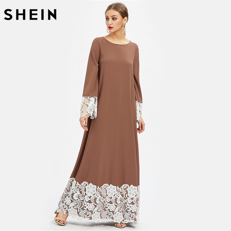 Detailed Long Dress Brown