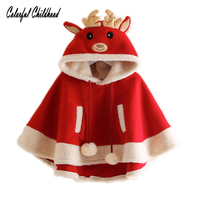Giáng sinh kids cô gái Áo mùa đông Áo Khoác Ngoài Dễ Thương Xmas Nai Sừng Tấm Chiếc Áo Choàng trùm đầu Dày của Trẻ Em cộng với nhung Áo Khoác Tassel Coat