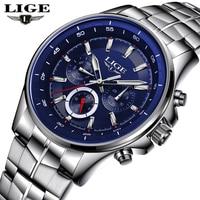 Top Luxury Brand LIGE Men Sport Watches Men's Quartz LED 6 Hands Analog Clock Man Military Waterproof Watch relogio masculino