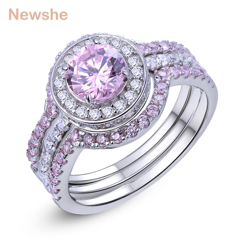 Newshe 3 Pcs Halo Wedding Ring Sets 2 Ct Round Cut Pink CZ Solid 925 Sterling Silver Engagement Rings Romantic Jewelry For WomenNewshe 3 Pcs Halo Wedding Ring Sets 2 Ct Round Cut Pink CZ Solid 925 Sterling Silver Engagement Rings Romantic Jewelry For Women