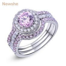 Newshe 3 Pcs Halo Wedding Ring Sets 2 Ct Round Cut Pink CZ Solid 925 Sterling Silver Engagement Rings Romantic Jewelry For Women