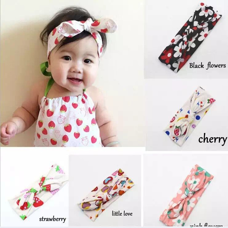 New Cotton Rabbit ears Headband floral strawberry knot tie headwrap Vintage Head Wrap Photo Girls Hair Accessories new girl lace rabbit ears headband floral strawberry knot tie headwrap vintage head wrap photo girls hair accessories children