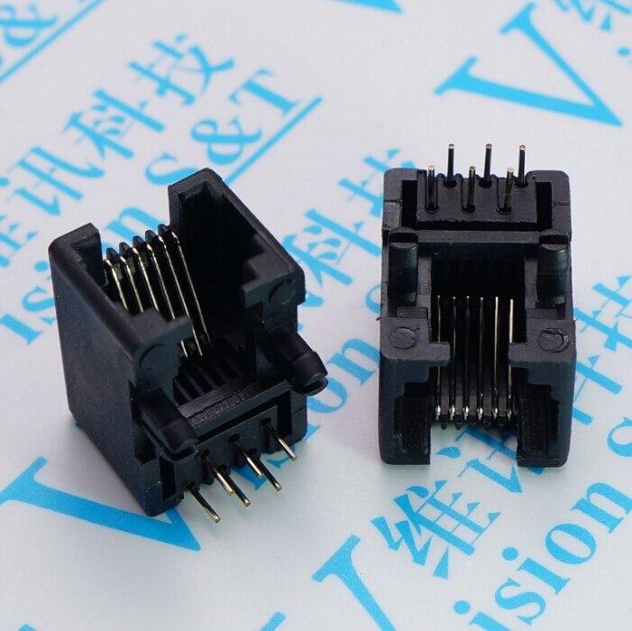 100 PCS Network socket RJ 11 Socket 95001 6 P 6 Black Telephone Jack 90 Degree 6 Core Crystal Head Seat 50pcs rj11 socket telephone 90 degrees 6pin crystal female 95001 6p6c socket