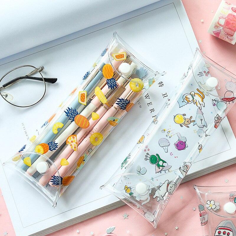 Cute Cat Transparent Pencil Bag Sakura Flower Space Frog Fruit Strawberry Pen Case Storage Pouch Stationery Office School A6079