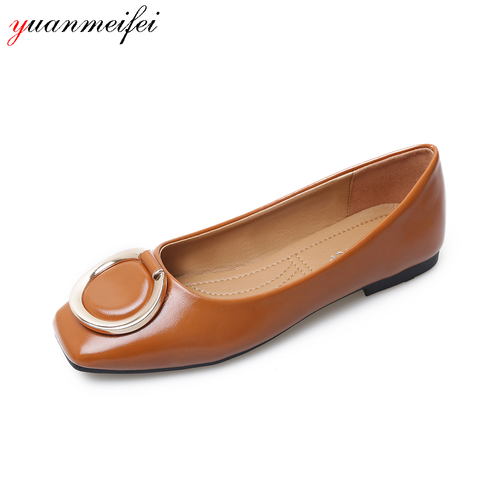 yuanmeifei Fashion Women Flat Shoes Plus Size 41 Casual Shoes Spring/Autumn Buckle Square Toe Flat Lady Shoes 2017 New Arrival new 2016 spring autumn summer fashion casual flat with shoes breathable pointed toe solid high quality shoes plus size 36 40