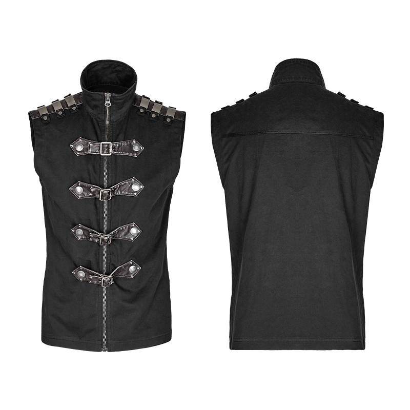 Gothic Punk Shirt Men Summer Sleeveless Zipper Design Black Rock Cotton Armour Shirts For Men Casual Fitted Blouses Y-741