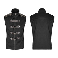 Gothic Punk Shirt Men Summer Sleeveless Zipper Design Black Rock Cotton Armour Shirts For Men Casual Fitted Blouses Y 741