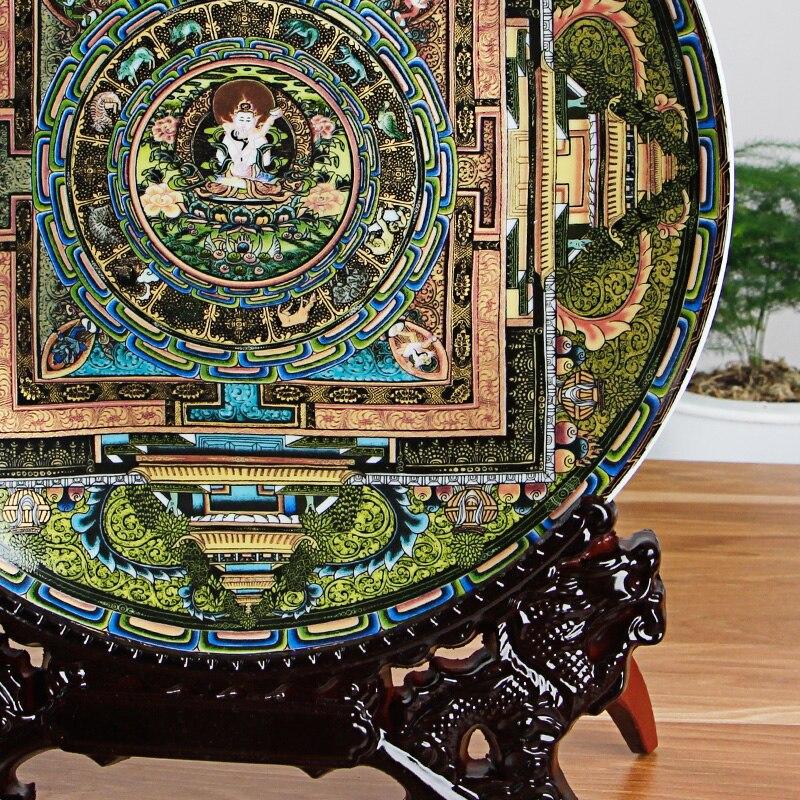 Jingdezhen-assiette décorative en porcelaine | Céramique tang-ga assiette suspendue, métope pour salon hôtel - 5