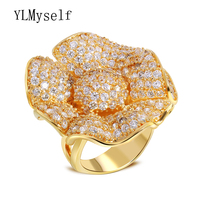 Big flower luxury spectacular rings for women exaggerated finger ring micro setting aaa zircon jewelry Fashion accessories