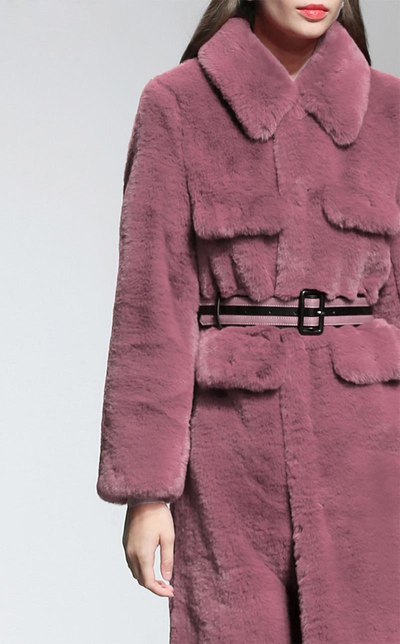 Manteau 2018 Haut Femmes Longue Confortable C Taille Fourrure Tranchée De Gamme Automne Luxueux Très Outwear Hiver Nouvelle Imité Luxe Ceinture Mince w80OPkn