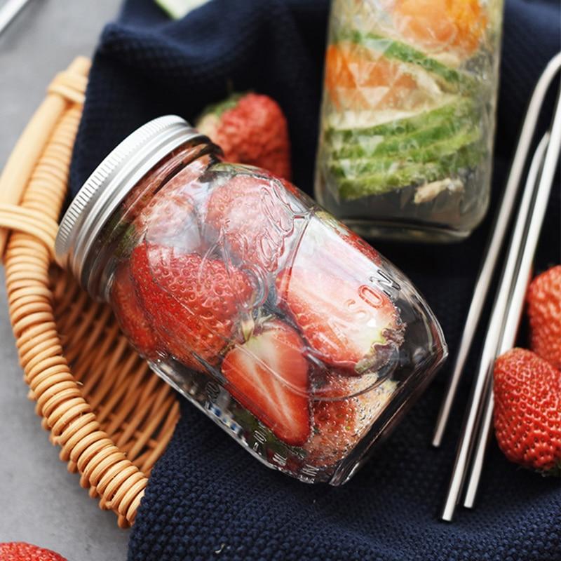 130 ~ 780ML Mason Jar glas kopp dryck rån med lock halm sommar Glass - Hemlagring och organisation - Foto 5