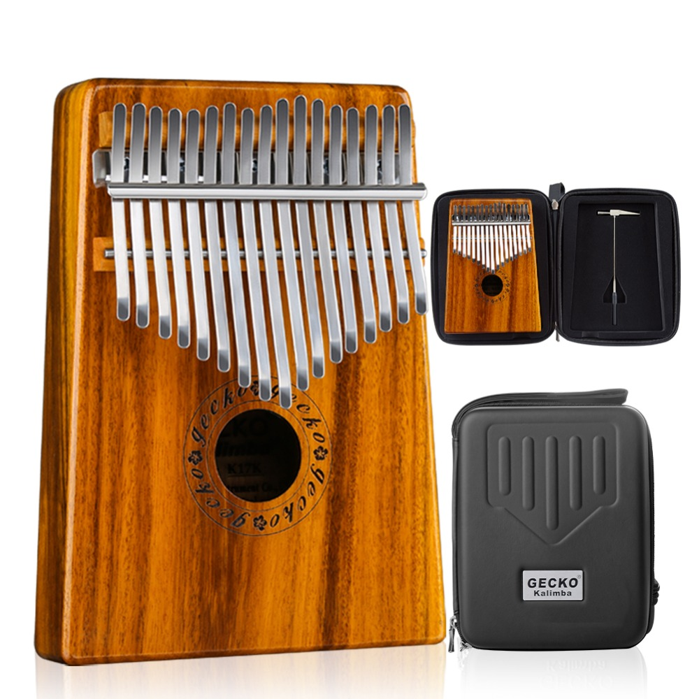 GECKO Kalimba 17 Keys Acacia KOA Thumb Piano and EVA High Performance Protection Box Tuning Hammer