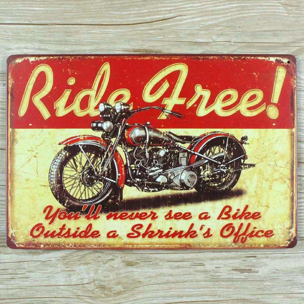 Buy ride free motorcycle vintage home for Plaque metal deco pour mur