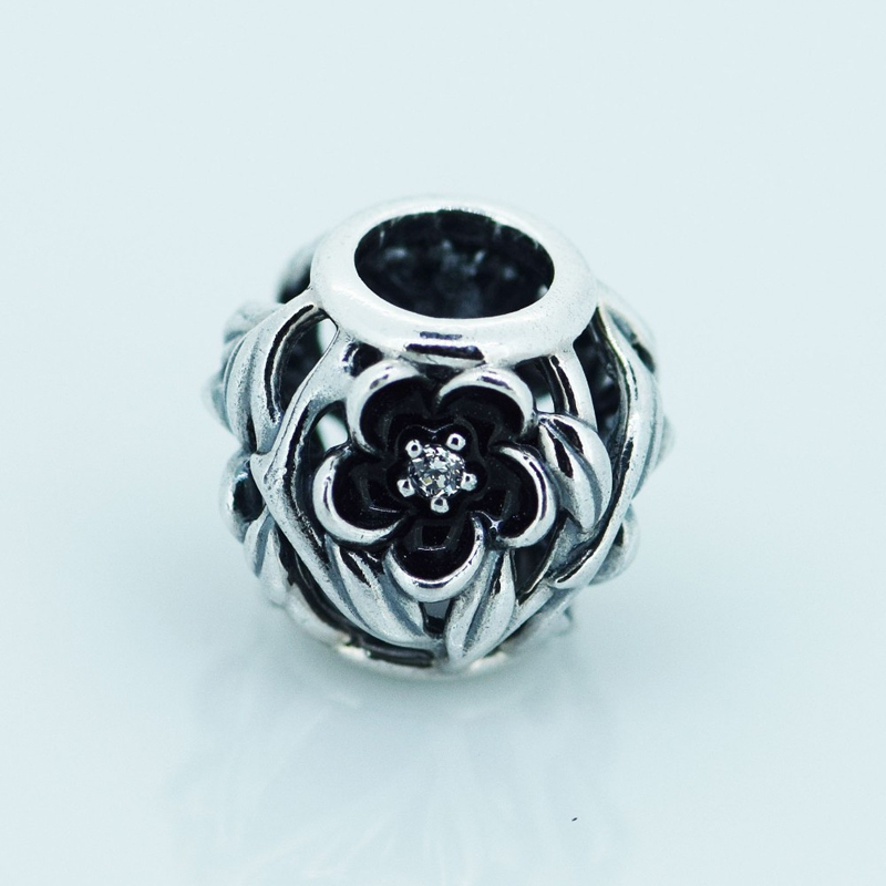 Fit Pandora Bracelet Charms Silver 925 Original Beads Mystic Floral Silver Charm Clear CZ Black Enamel Beads for Jewelry Making strollgirl car keys 100% sterling silver charm beads fit pandora charms silver 925 original bracelet pendant diy jewelry making