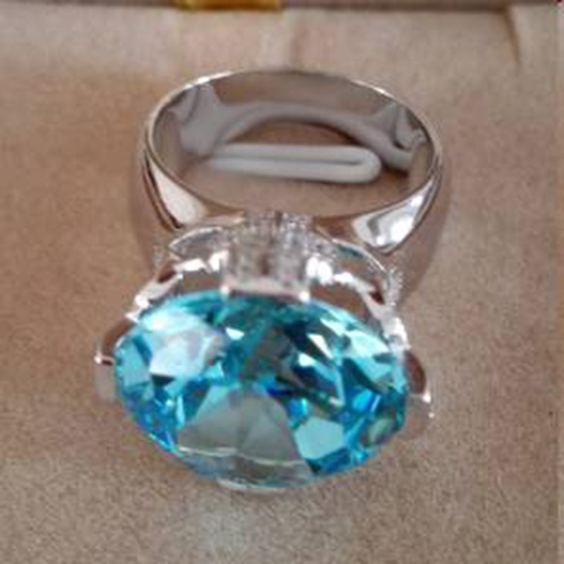 Qi Xuan_Blue pierre luxe Rings_Finger Rings_S925 solide argent mode bleu pierre ring_fabricant directement ventes - 3