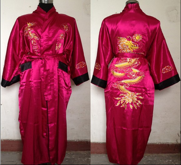 Free Shipping Plum Black Reversible Two-face Chinese Men's Silk Satin Robe Embroidery Dragon Kimono Bath Gown SIZE M-3XL SZ-3