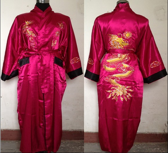 Free shipping Plum black Reversible Two-face Chinese Men s Silk Satin Robe  Embroidery Dragon Kimono Bath Gown SIZE M-3XL SZ-3 2a25d5ea2